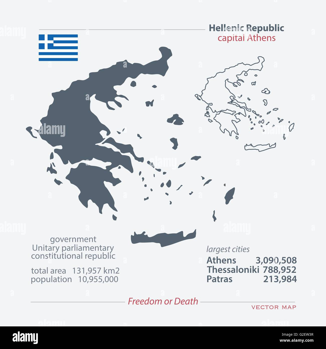 Hellenic Republic Isolated Maps And Official Flag Icon