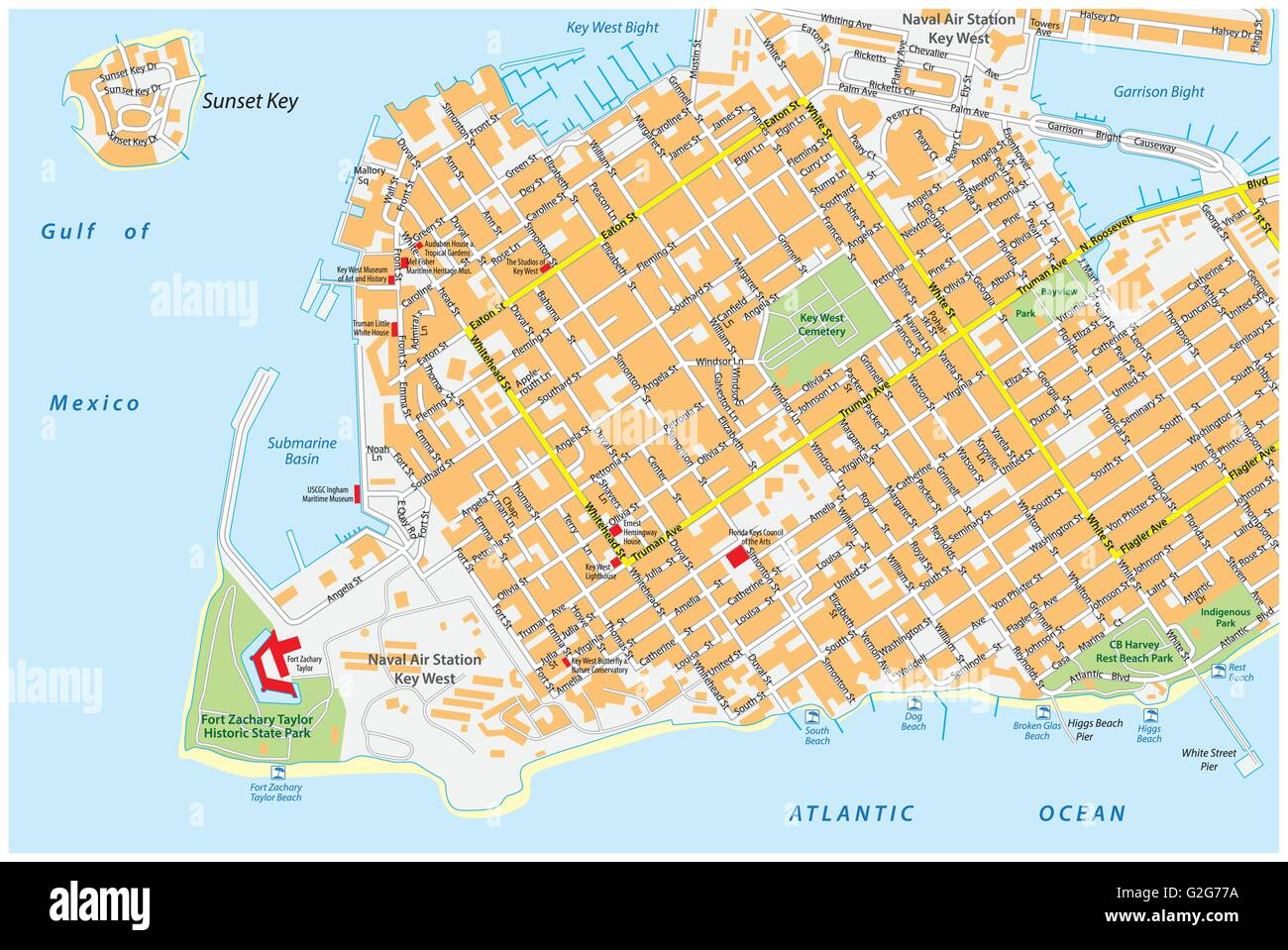 Key West Road Map With Road Names Florida United States