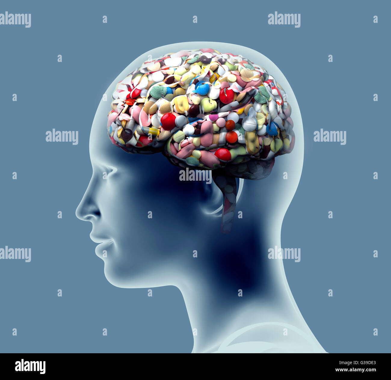 X Ray Of Human Head With Pills And Drugs For Brain Stock