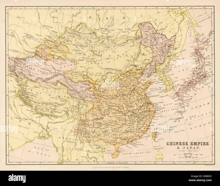 Map of the Chinese Empire and Japan Date  circa 1880 Stock Photo     Map of the Chinese Empire and Japan Date  circa 1880