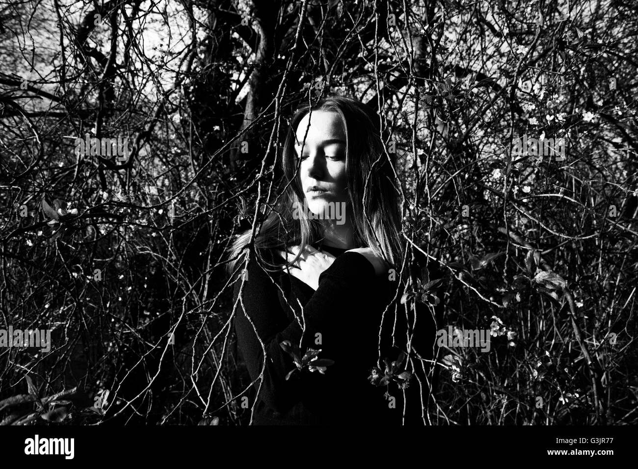Girl Woods And Black White