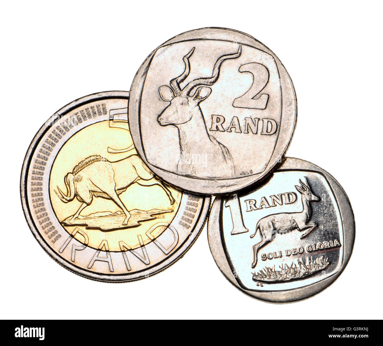 South African 1 2 And 5 Rand Coins Stock Photo