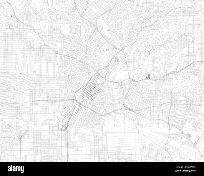 Map of Los Angeles  satellite view  streets and highways  Usa Stock     Map of Los Angeles  satellite view  streets and highways  Usa