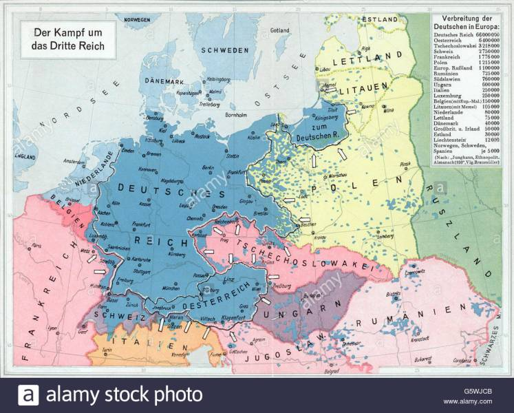 Map  distribution of the Germans in Europe  1930s Stock Photo     Map  distribution of the Germans in Europe  1930s