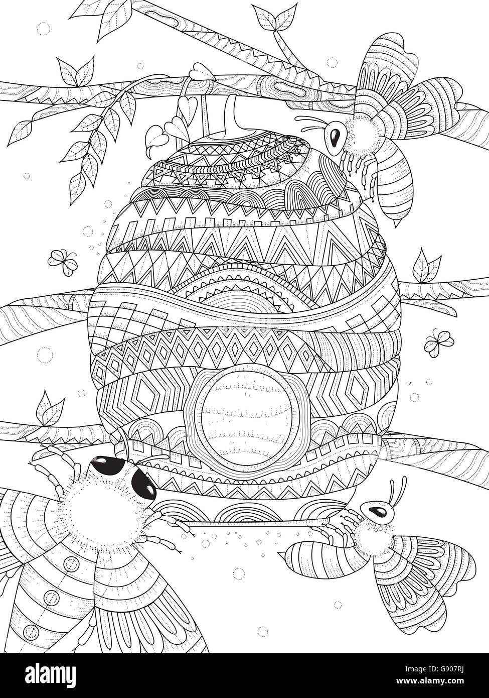 Bee Flies Around Honeycomb Adult Coloring Page Stock