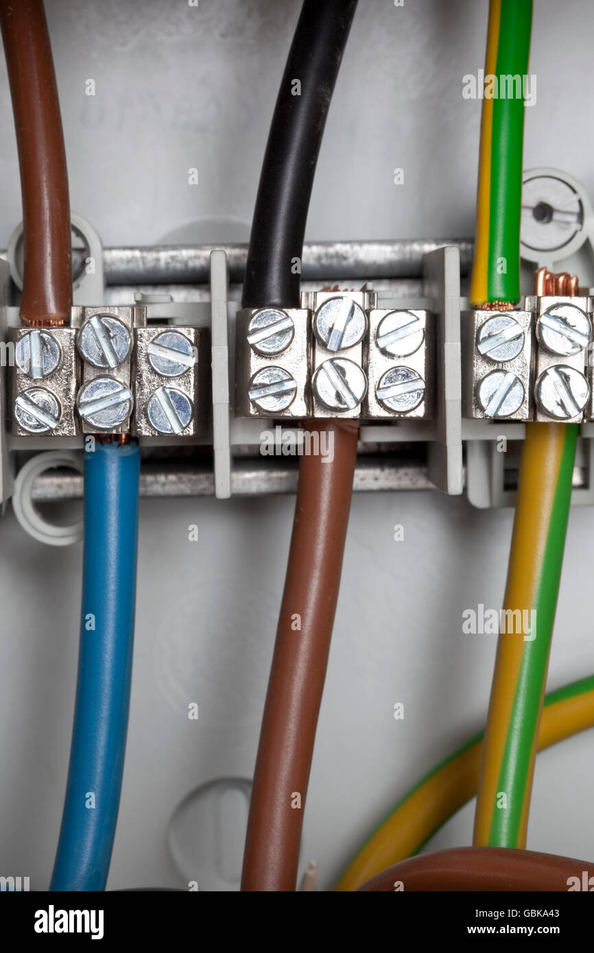 Junction Box Power Cables Stock Photo