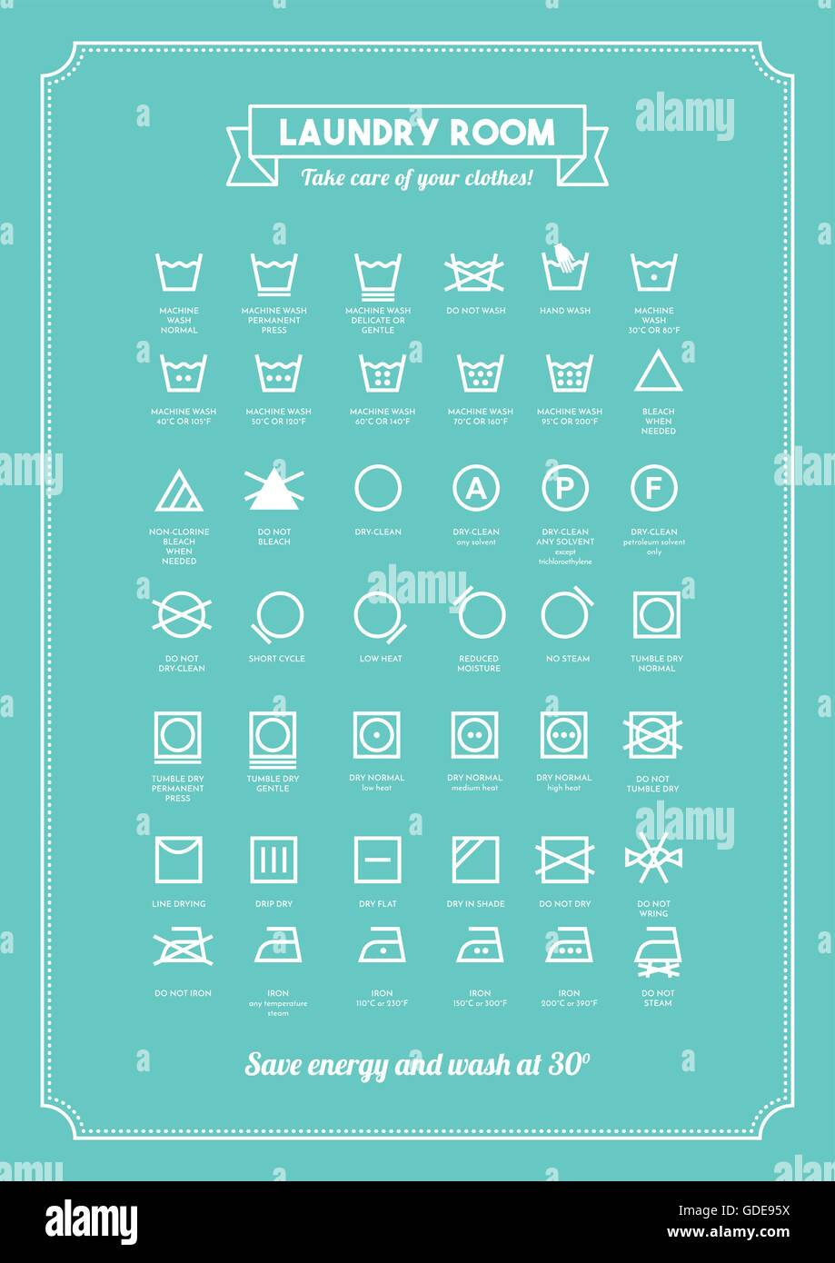 laundry and washing clothes symbols with texts poster stock vector image art alamy