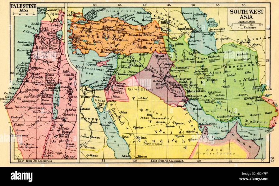 A 1930 s map of Palestine  left and south west Asia  right Stock     A 1930 s map of Palestine  left and south west Asia  right
