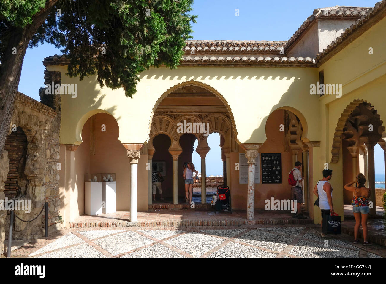 Courtyard Interior with moorish arches  Alcazaba  Malaga  Andalusia     Courtyard Interior with moorish arches  Alcazaba  Malaga  Andalusia  Spain
