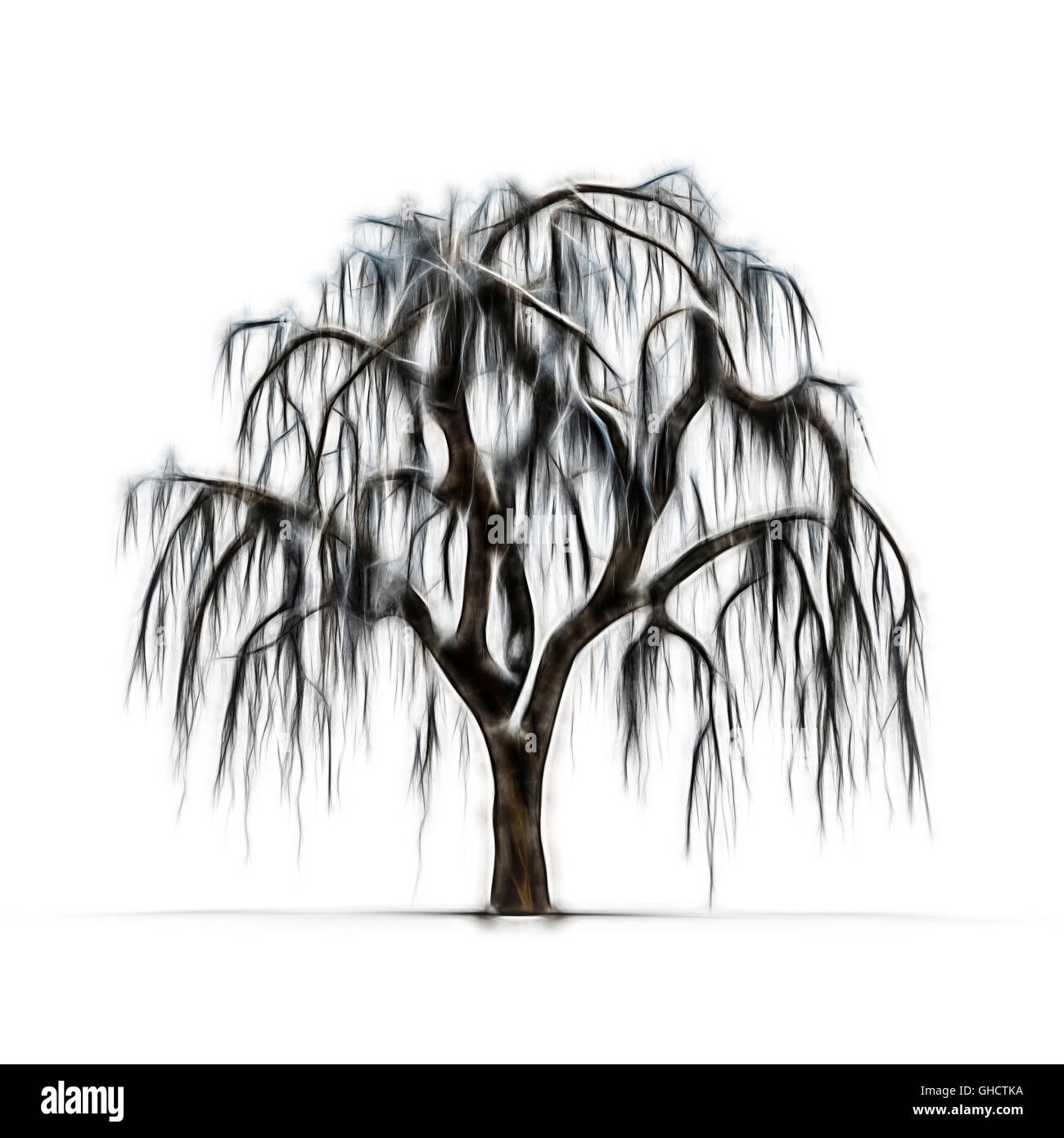 Sketch Of Winter Tree Without Leaves On White Background