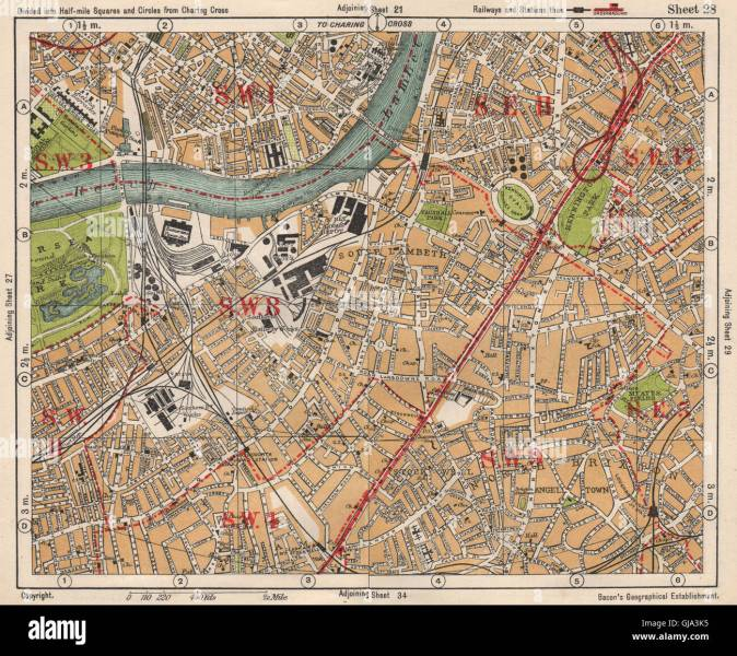 S LONDON  Kennington Battersea Pimlico Brixton Lambeth Clapham Stock     S LONDON  Kennington Battersea Pimlico Brixton Lambeth Clapham  BACON  1933  map