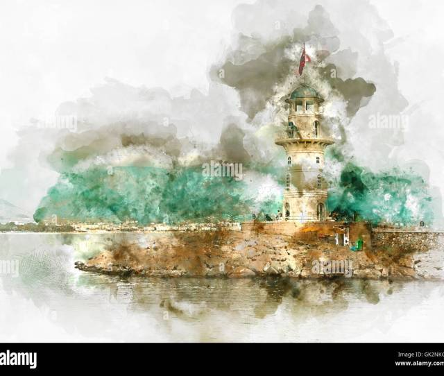 Digital Watercolor Painting Of A Lighthouse In Port Alanya Turkey Stock Image
