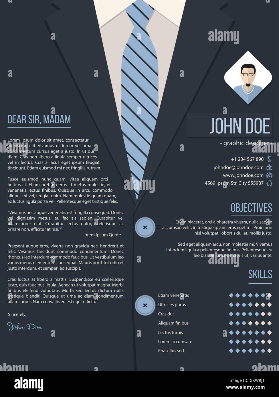 Cool Cover Letter Resume Template With Business Suit