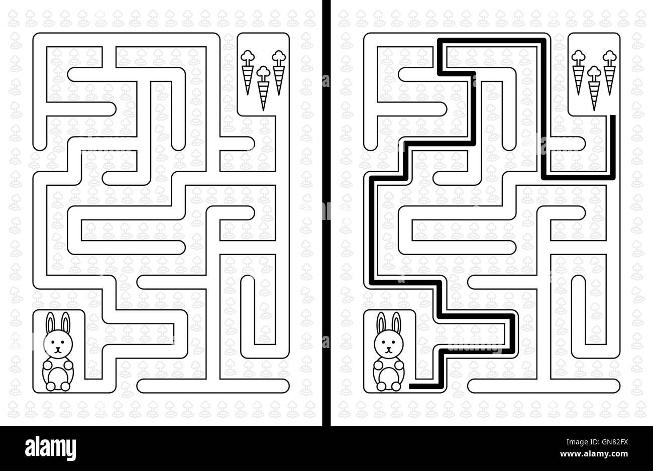 Easy Rabbit Maze Stock Vector Art Amp Illustration Vector