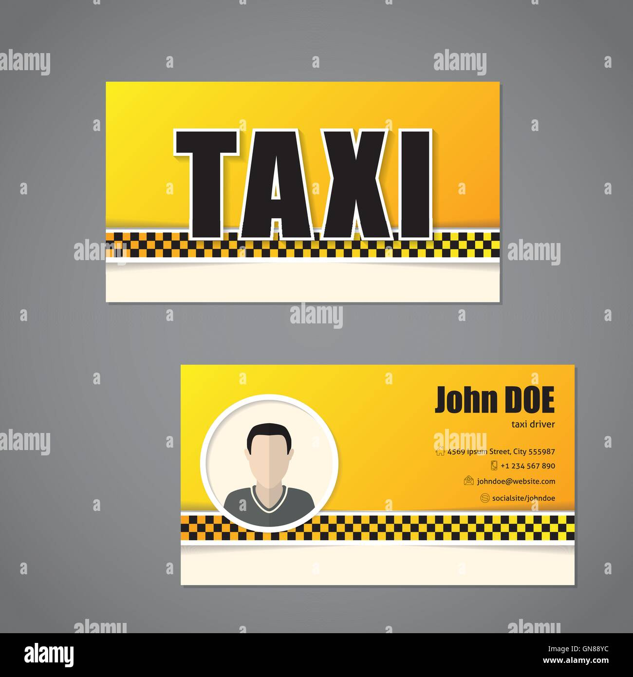 Taxi Business Card Template With Driver Photo Stock Vector