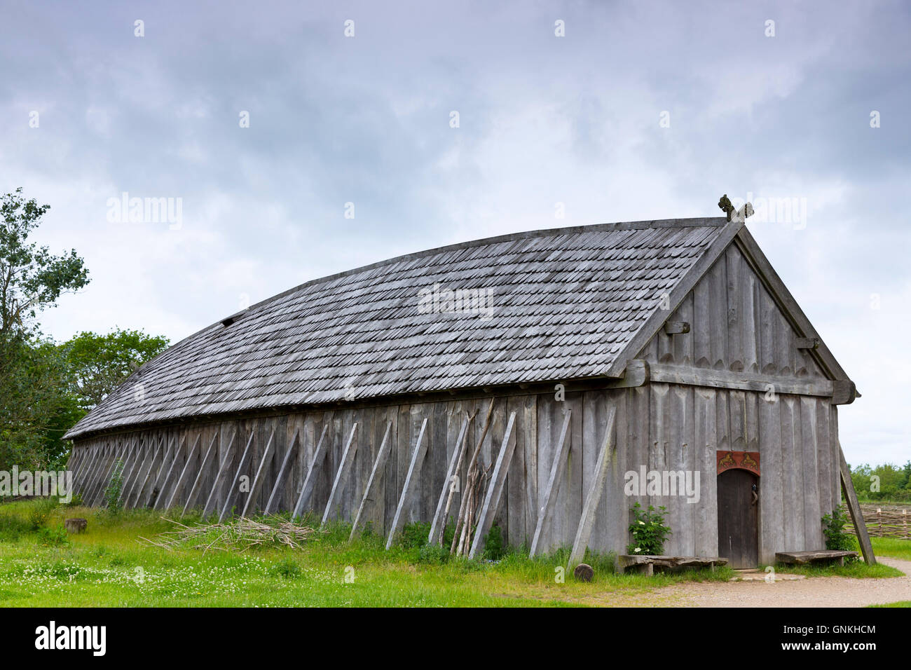 Historic Viking Longhouse Reconstruction With Oak Shingles