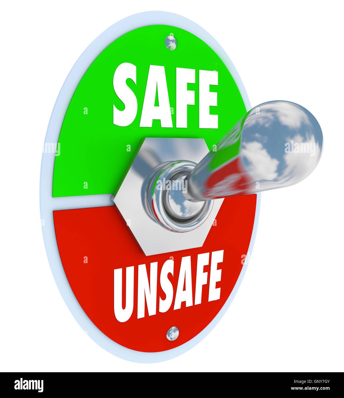 Safe Or Unsafe Toggle Switch Choose Safety Vs Danger Stock