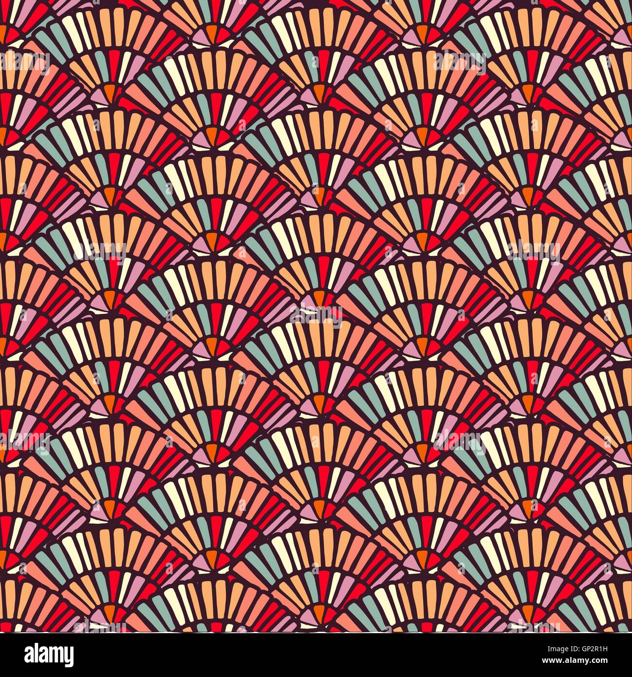 https www alamy com stock photo colorful seamless pattern with hand drawn fans mosaic tile art in 116846621 html