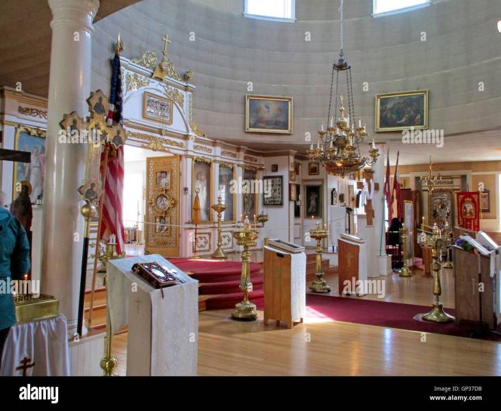 Interior with artifacts St  Michael s Russian Orthodox Church Stock     Interior with artifacts St  Michael s Russian Orthodox Church Cathedral  Sitka Alaska Inside Passage Southeast Alaska USA