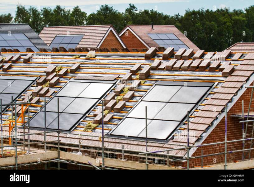 Redrow New Build houses  small energy efficient homes with roof     Redrow New Build houses  small energy efficient homes with roof solar  panels nearing completion  a development in Buckshaw Village  near Chorley