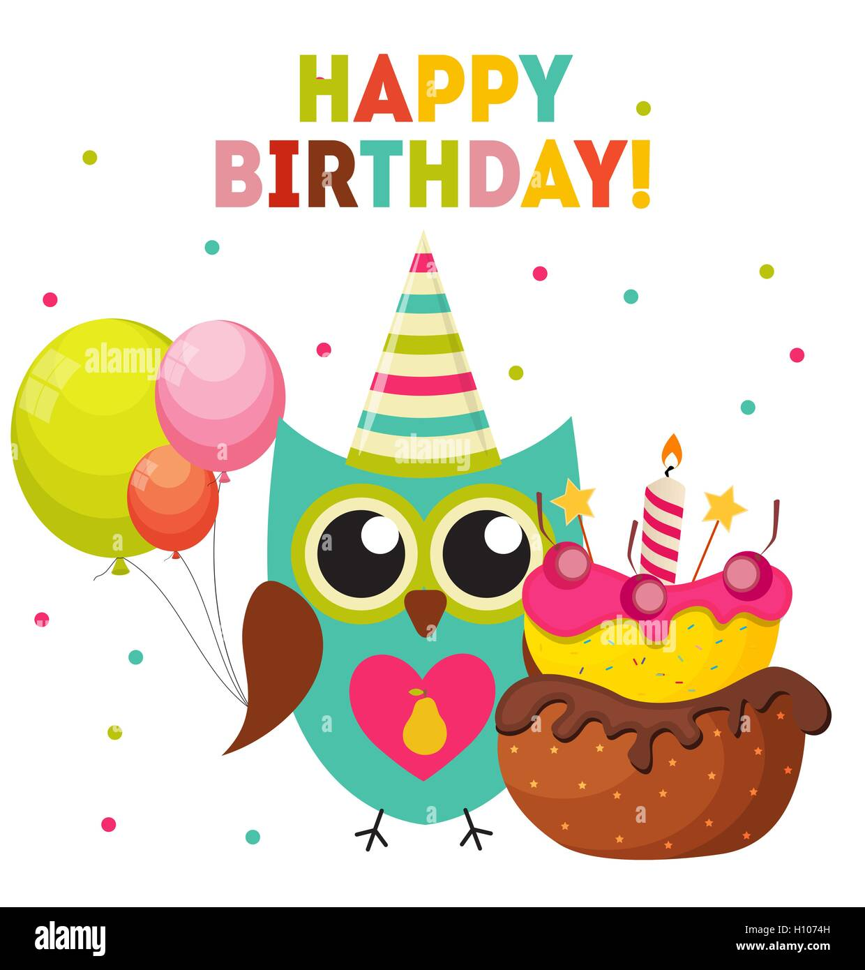 Cute Owl Happy Birthday Background With Balloons And Place For Y Stock Vector Image Art Alamy