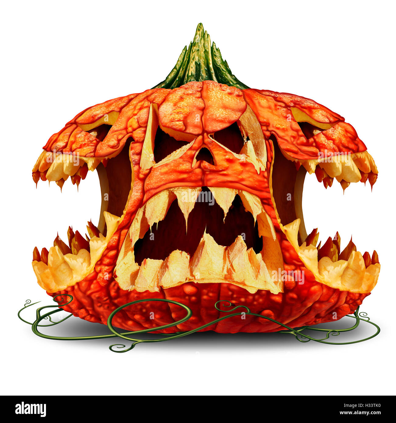 Scary Halloween Pumpkin Character Group And Creepy Jack O