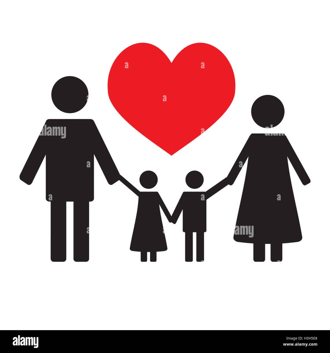 Download Happy family love. Family silhouette and children love ...