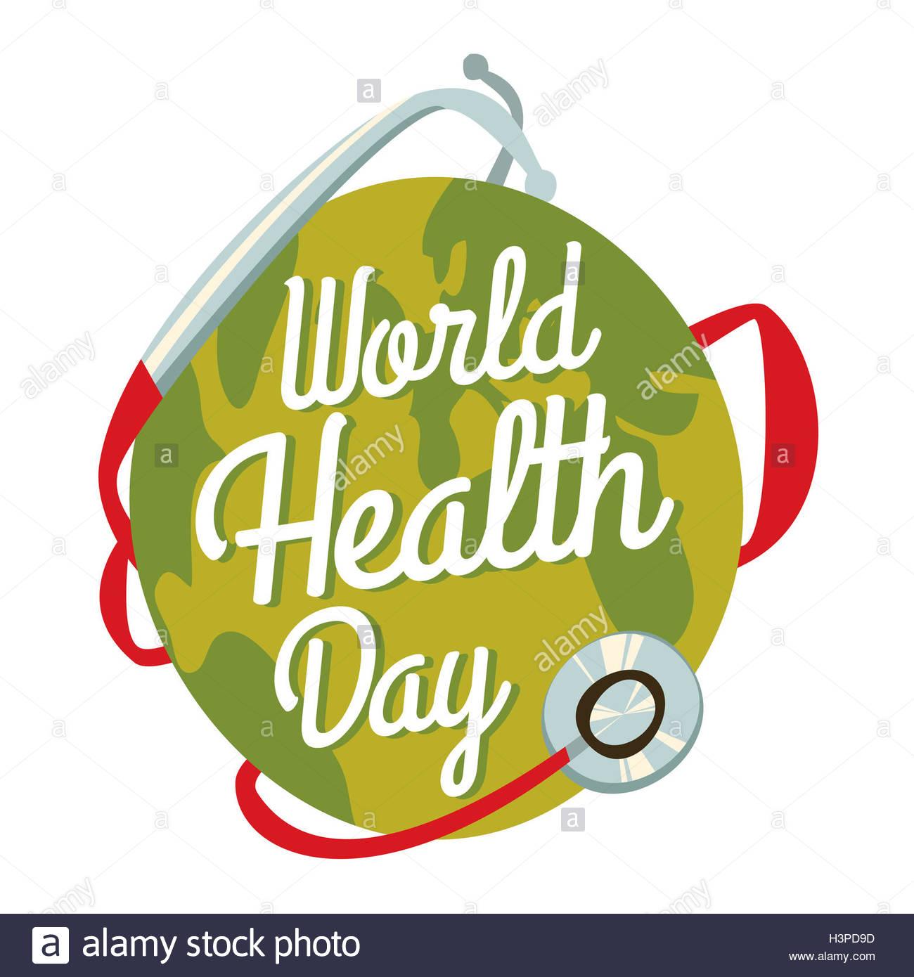 World Health Day Cartoon Earth Stock Photo
