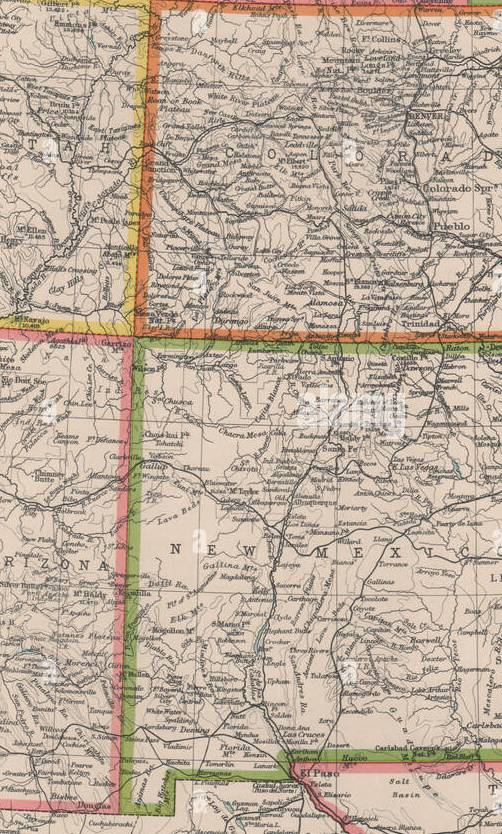 HD Decor Images » Old Map New Mexico State Stock Photos   Old Map New Mexico State     COLORADO AND NEW MEXICO  USA state map  BARTHOLOMEW 1944 old vintage chart    Stock