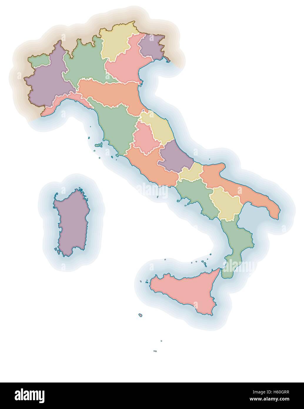 Italian Regions Borders Blank Map Political Map Of Italy
