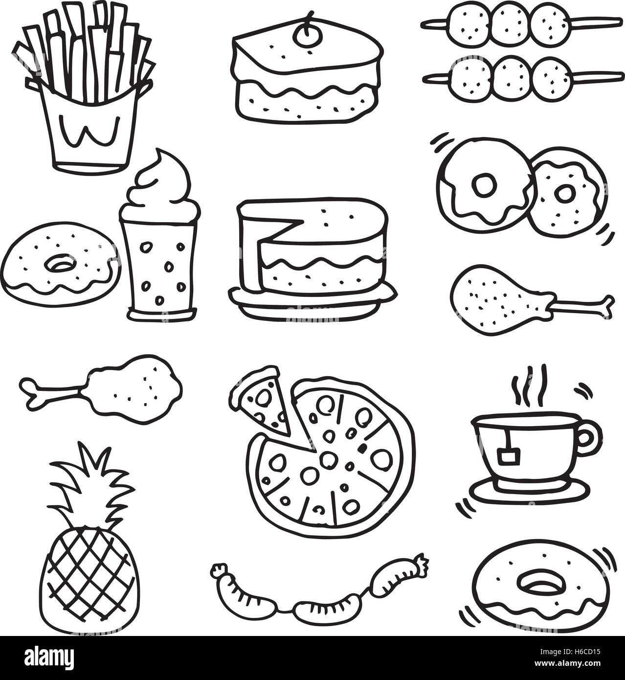 Doodle Of Food Breakfast Lunch Or Dinner Vector Art Stock