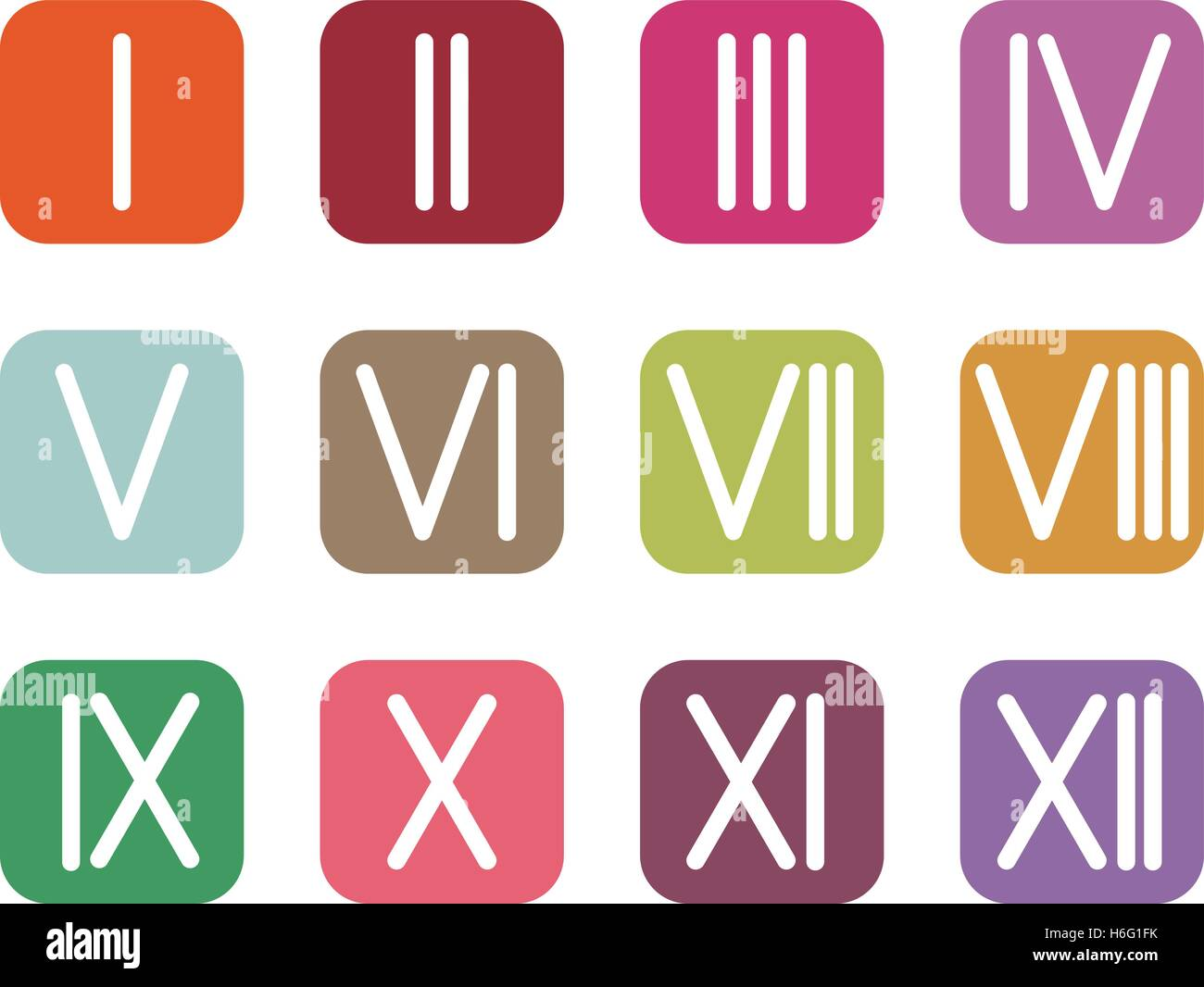 Set Roman Numerals 1 12 Icon 12 Square Colored Buttons