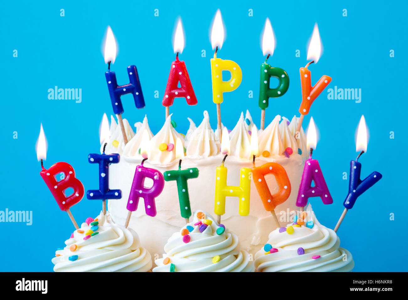 Colorful Candles Spelling Happy Birthday Stock Photo Alamy