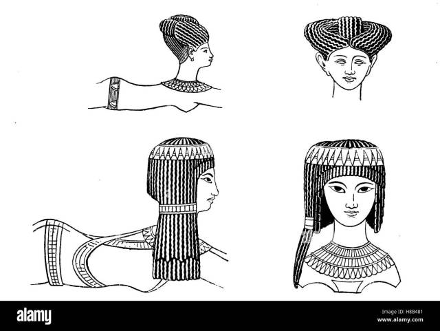 ladies' hairstyles in ancient egypt, ca 1200 bc, after