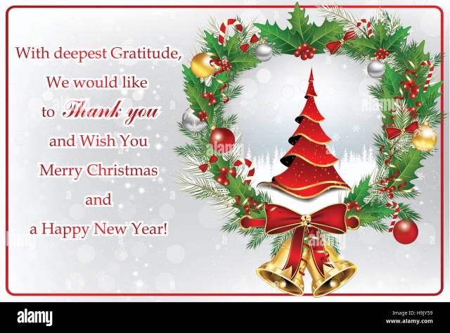 Thank you business greeting card for Christmas and New Year. Contains Stock  Photo - Alamy