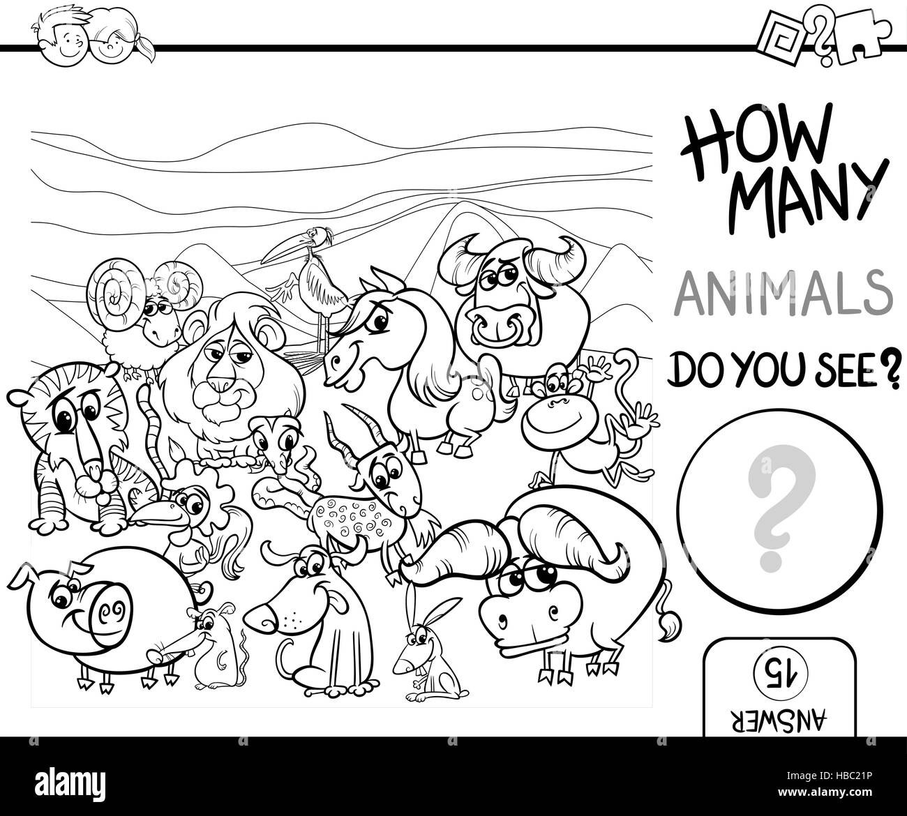 Black And White Cartoon Illustration Of Educational