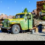 Old Pickup Truck With Wooden Truck Bed And Faded Peelpaint In Desert Stock Photo Alamy