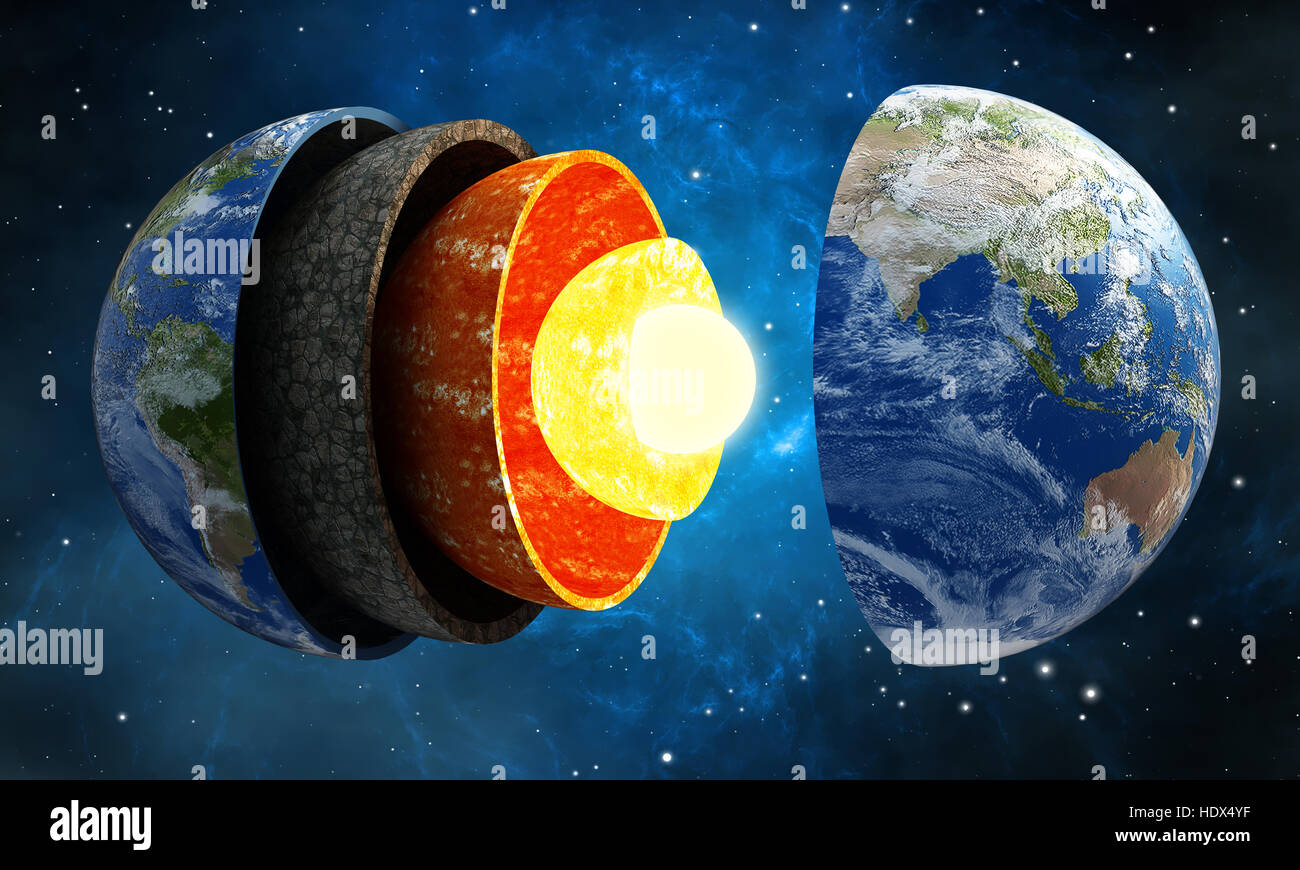 3d Illustration Showing Layers Of The Earth In Space Stock