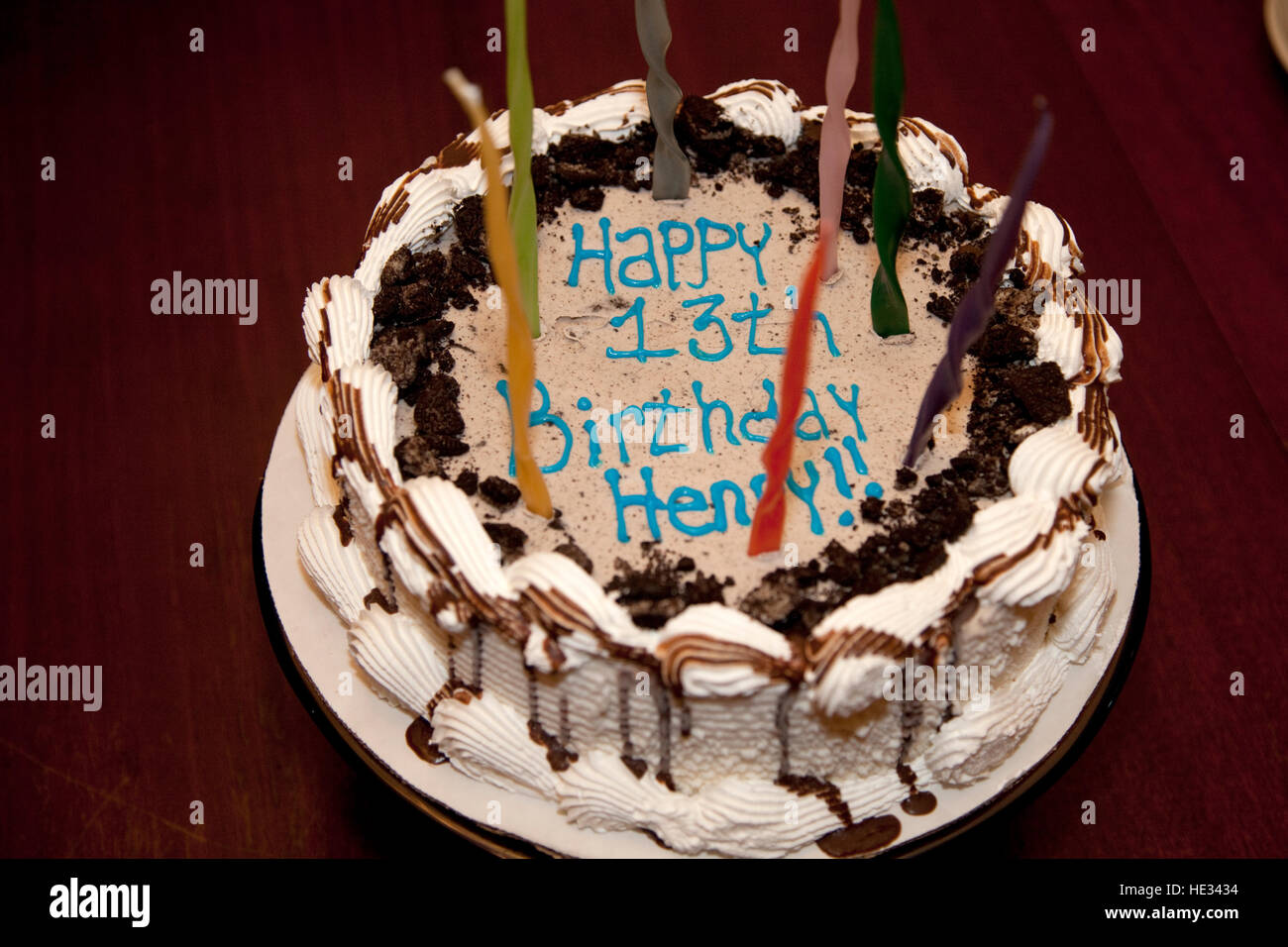 Decorative Happy Birthday Cake With Candles For A 13 Year Old Boy St Paul Minnesota Mn Usa Stock Photo Alamy