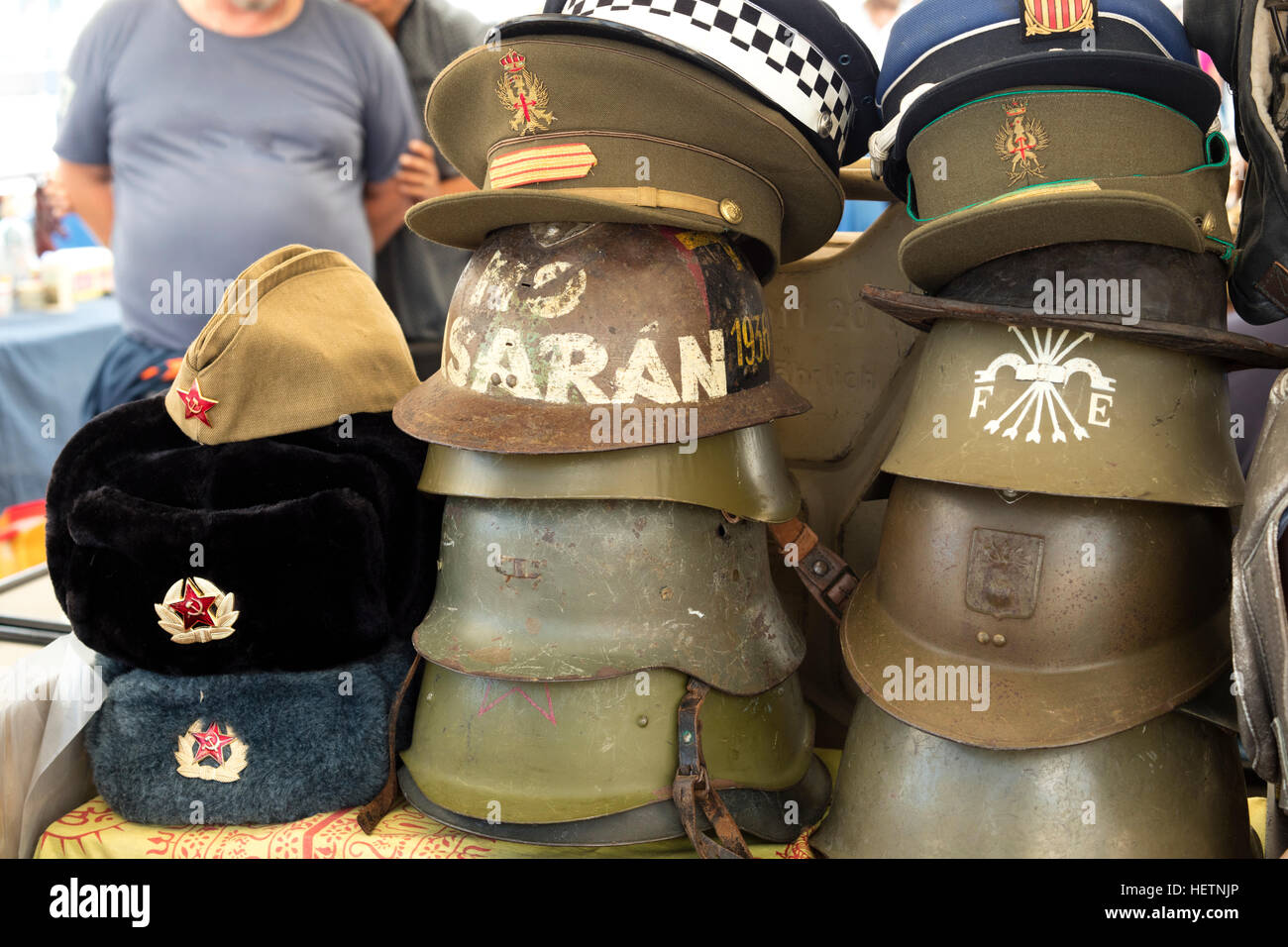 Group Of Several War Helmets Of Second World War Spanish