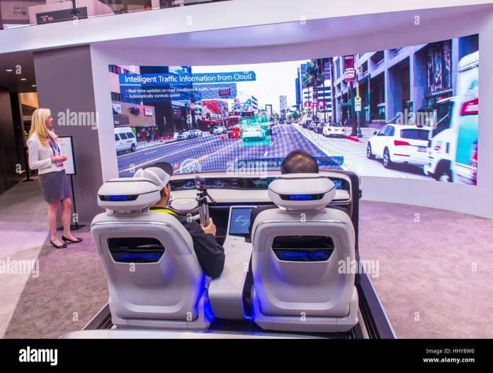 las vegas - jan 08 : the hyundai mobis concept car simulator at the