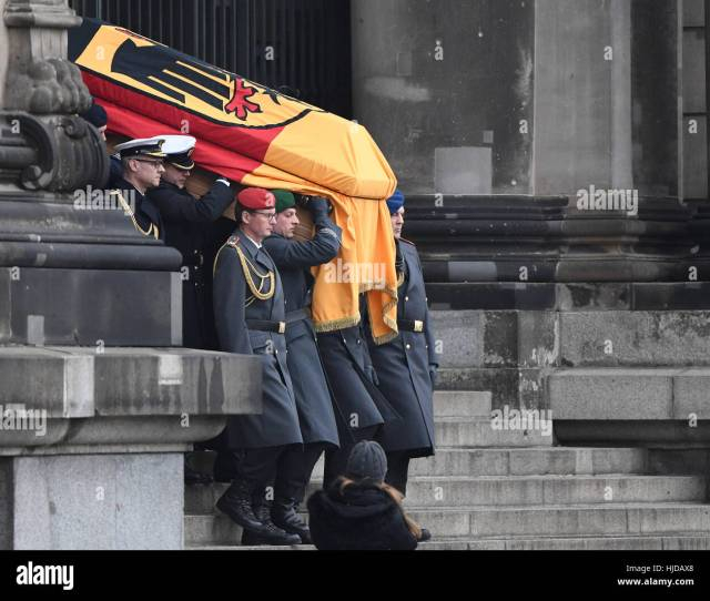 The Coffin Of The Former German President Roman Herzog Is Carried Out Of The Berlin Cathedral By A Ceremonial Escort In Berlin Germany