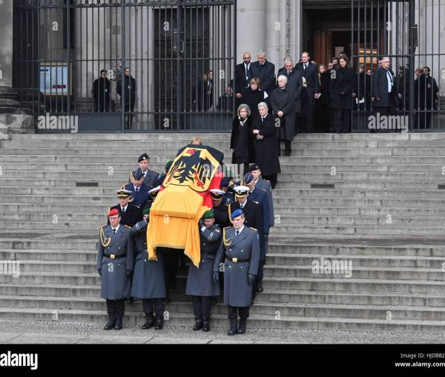 Berlin Germany Th Jan  German President Joachim Gauck And Alexandra Freifrau Von Berlichingen Behind The Coffin Of The Former German President