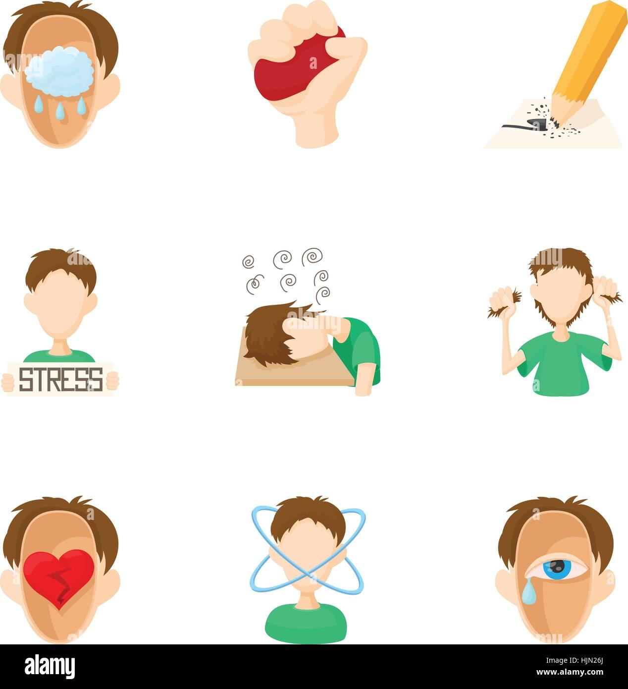 Emotional Feelings Icons Set Cartoon Illustration Of 9