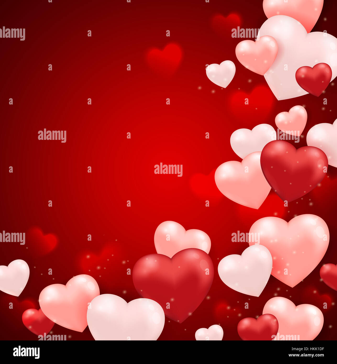 Red And Pink Heart Balloons On A Red Background For