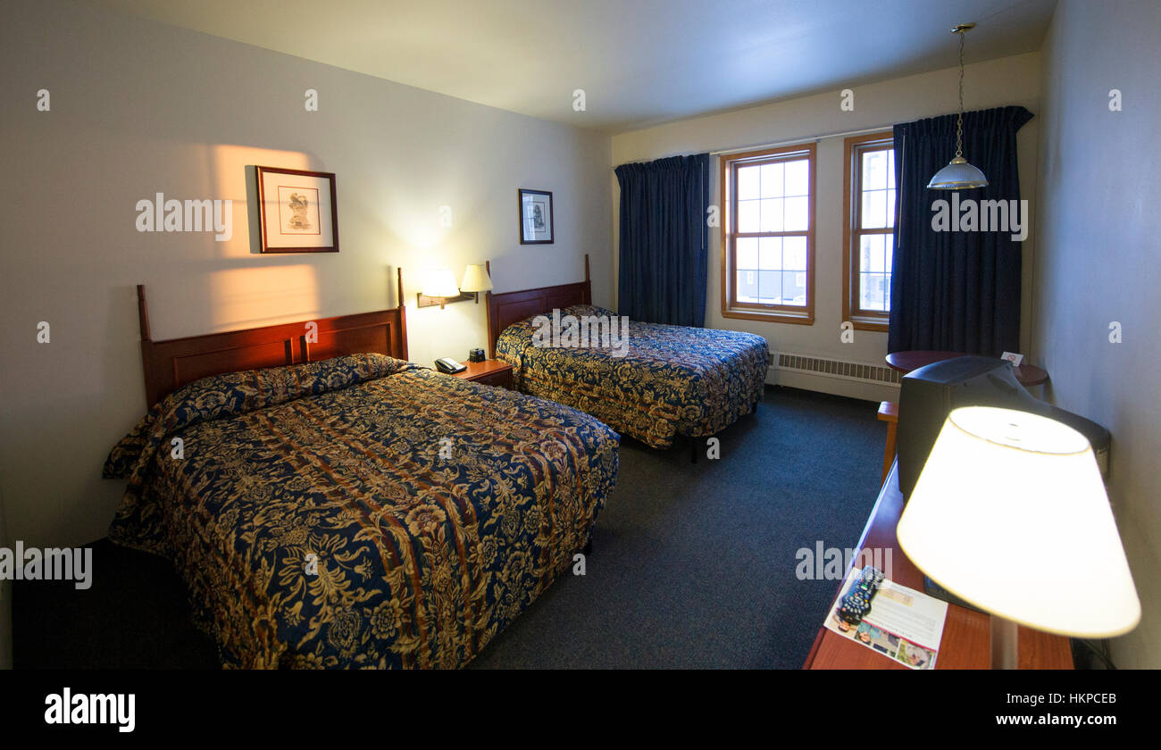 Inn Hotel Interior Room Stock Photos   Inn Hotel Interior Room Stock     Aurora Inn hotel room 210 in Nome Alaska  The Nome Gold Rush was a gold
