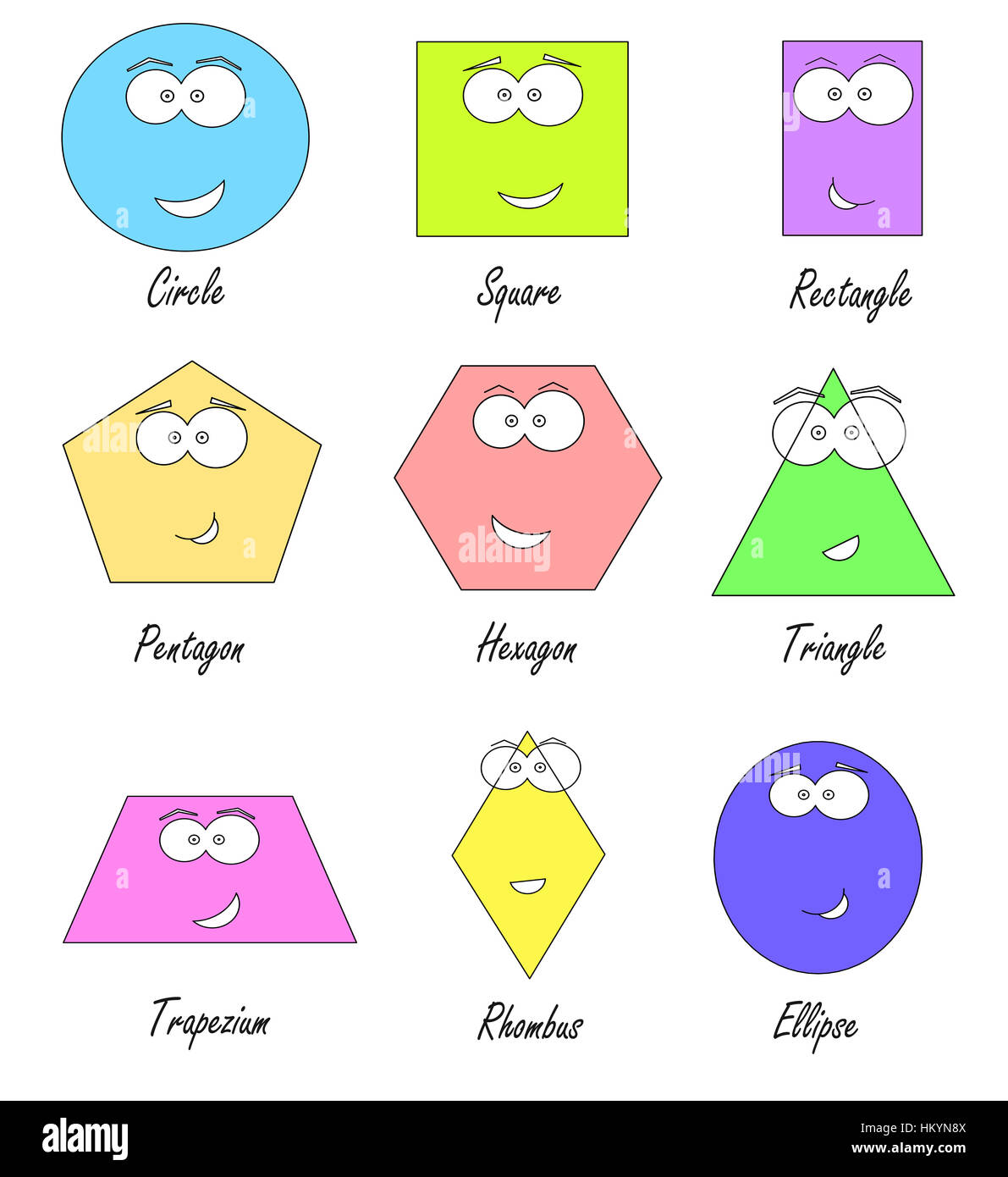 Geometric Shapes With Funny Faces