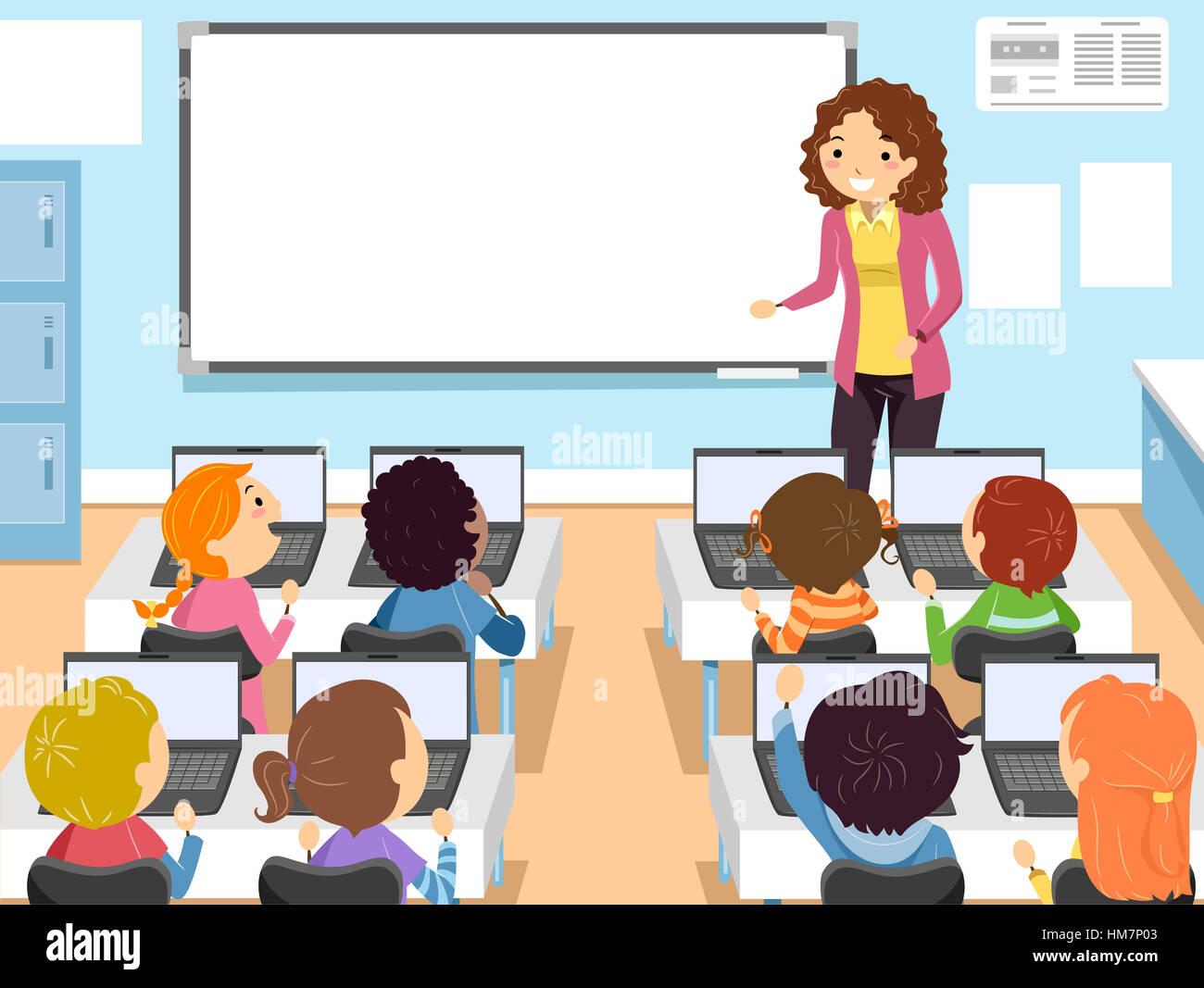 Stickman Illustration Of Preschool Children In A Computer Class Stock Photo