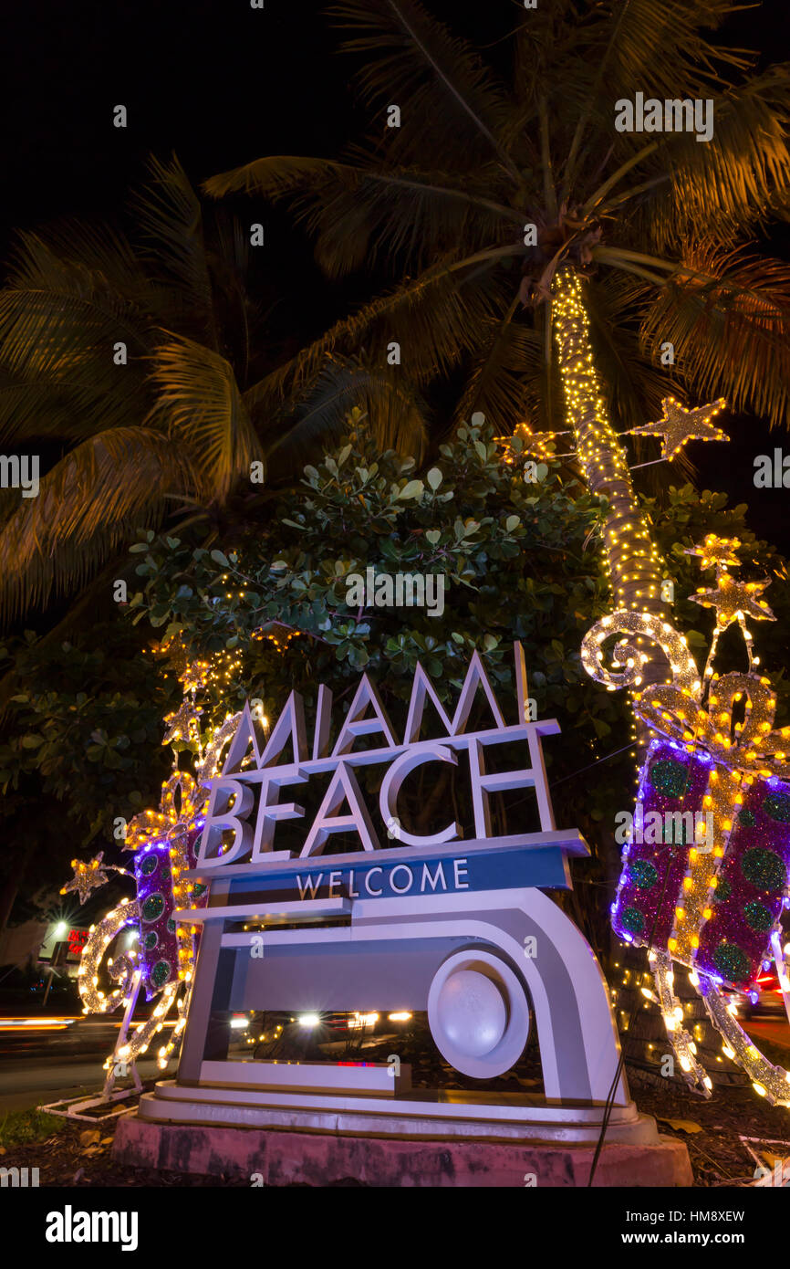 christmas decorations on welcome sign miami beach florida usa stock