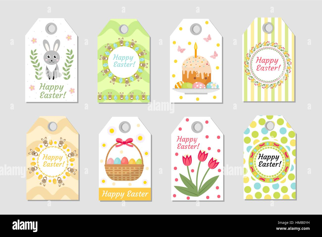 Cute Easter Tags Set Labels Collection With Rabbit Eggs And Stock Vector Art Amp Illustration